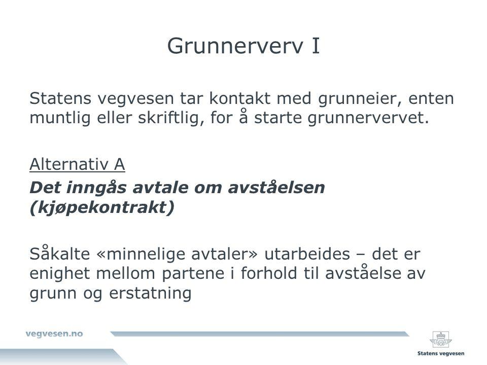 Grunnerverv I Statens vegvesen tar kontakt med grunneier, enten muntlig eller skriftlig, for å starte grunnervervet.