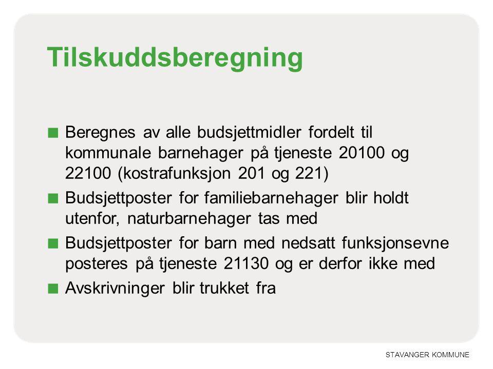 STAVANGER KOMMUNE Tilskuddsberegning ■ Beregnes av alle budsjettmidler fordelt til kommunale barnehager på tjeneste 20100 og 22100 (kostrafunksjon 201
