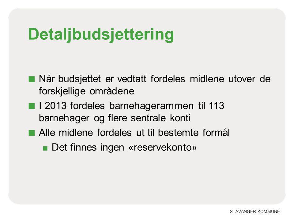 STAVANGER KOMMUNE Detaljbudsjettering ■ Når budsjettet er vedtatt fordeles midlene utover de forskjellige områdene ■ I 2013 fordeles barnehagerammen t
