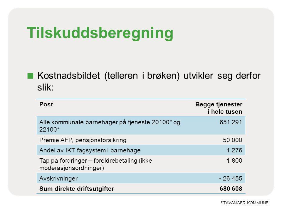 STAVANGER KOMMUNE Tilskuddsberegning ■ Kostnadsbildet (telleren i brøken) utvikler seg derfor slik: PostBegge tjenester i hele tusen Alle kommunale ba
