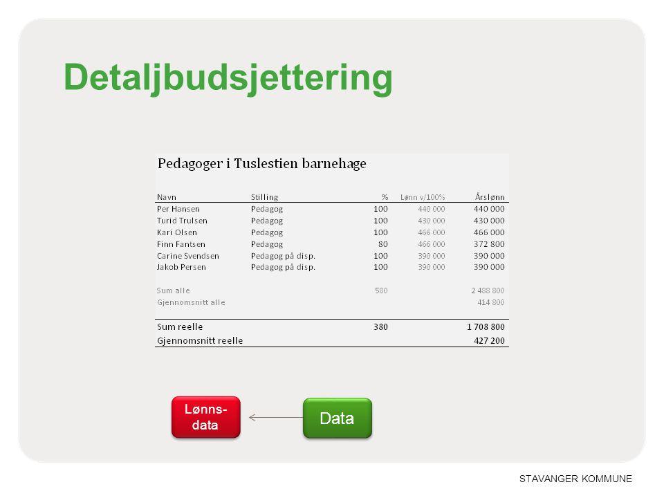 STAVANGER KOMMUNE Detaljbudsjettering Data Lønns- data