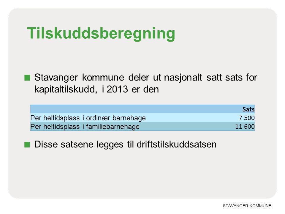 STAVANGER KOMMUNE Tilskuddsberegning ■ Stavanger kommune deler ut nasjonalt satt sats for kapitaltilskudd, i 2013 er den ■ Disse satsene legges til dr