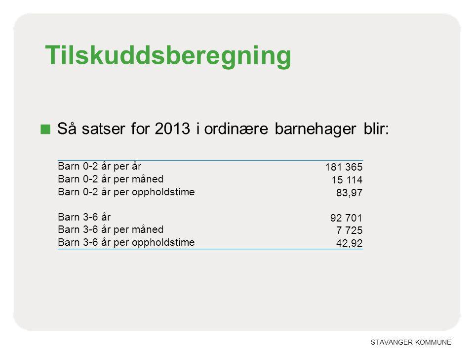 STAVANGER KOMMUNE Tilskuddsberegning ■ Så satser for 2013 i ordinære barnehager blir: Barn 0-2 år per år 181 365 Barn 0-2 år per måned 15 114 Barn 0-2