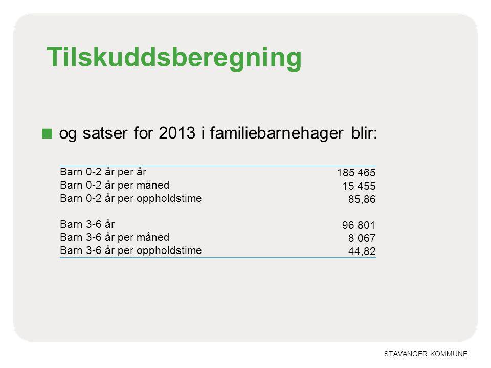 STAVANGER KOMMUNE Tilskuddsberegning ■ og satser for 2013 i familiebarnehager blir: Barn 0-2 år per år 185 465 Barn 0-2 år per måned 15 455 Barn 0-2 å