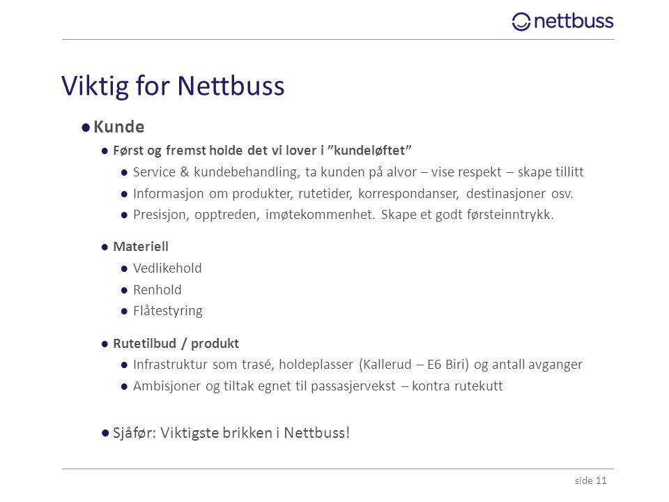 """Viktig for Nettbuss ●Kunde ●Først og fremst holde det vi lover i """"kundeløftet"""" ●Service & kundebehandling, ta kunden på alvor – vise respekt – skape t"""