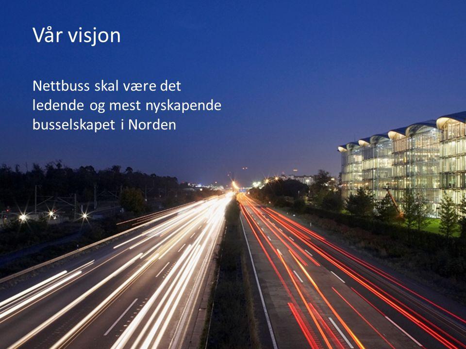 Våre verdier Respekt og tillit I Nettbuss vil vi hverandre vel Modig I Nettbuss skal vi ha åpenhet og mot til å si ifra Ansvarlig I Nettbuss skal vi være til å stole på Markedsorientert I Nettbuss skal vi tenke butikk