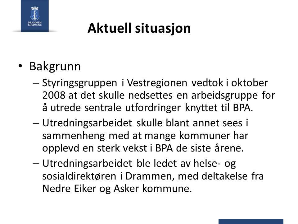 Aktuell situasjon Bakgrunn – Styringsgruppen i Vestregionen vedtok i oktober 2008 at det skulle nedsettes en arbeidsgruppe for å utrede sentrale utfor