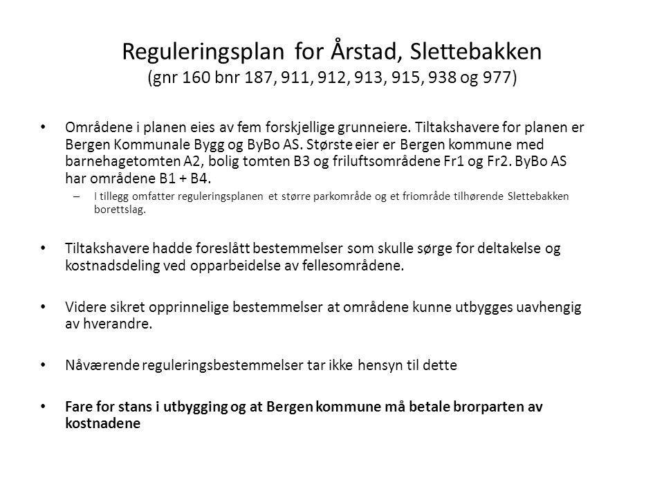 Reguleringsplan for Årstad, Slettebakken (gnr 160 bnr 187, 911, 912, 913, 915, 938 og 977) Områdene i planen eies av fem forskjellige grunneiere. Tilt