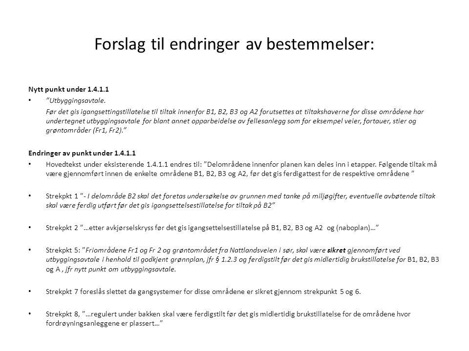 """Forslag til endringer av bestemmelser: Nytt punkt under 1.4.1.1 """"Utbyggingsavtale. Før det gis igangsettingstillatelse til tiltak innenfor B1, B2, B3"""