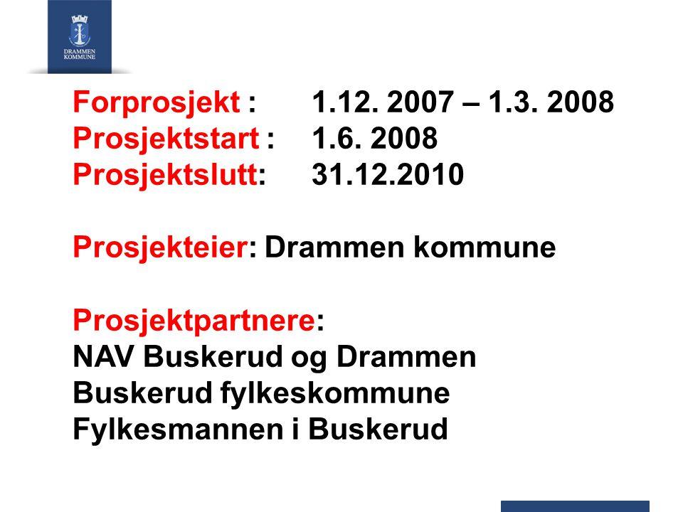 Forprosjekt : 1.12. 2007 – 1.3. 2008 Prosjektstart : 1.6.