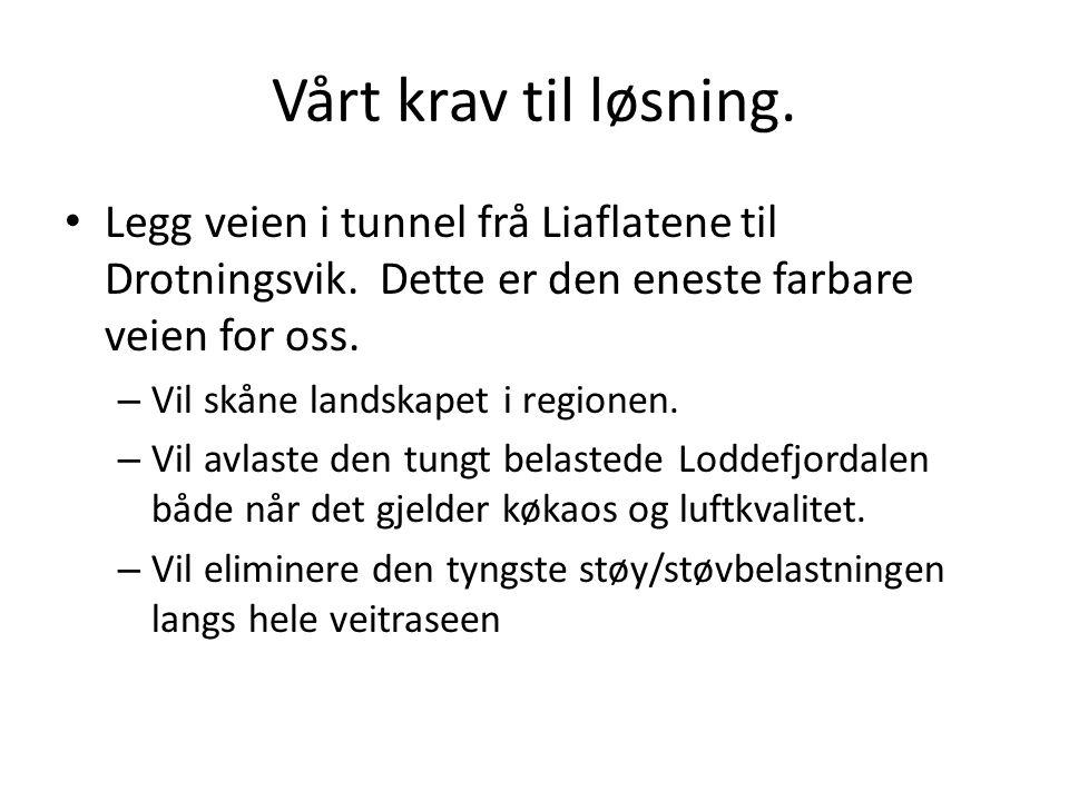 Vårt krav til løsning. Legg veien i tunnel frå Liaflatene til Drotningsvik. Dette er den eneste farbare veien for oss. – Vil skåne landskapet i region