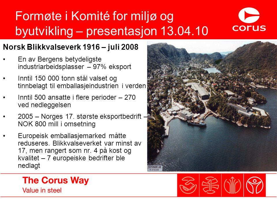Formøte i Komité for miljø og byutvikling – presentasjon 13.04.10 Norsk Blikkvalseverk 1916 – juli 2008 En av Bergens betydeligste industriarbeidsplas