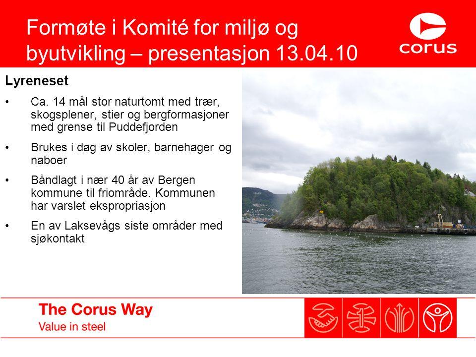 Formøte i Komité for miljø og byutvikling – presentasjon 13.04.10 Lyreneset Ca. 14 mål stor naturtomt med trær, skogsplener, stier og bergformasjoner