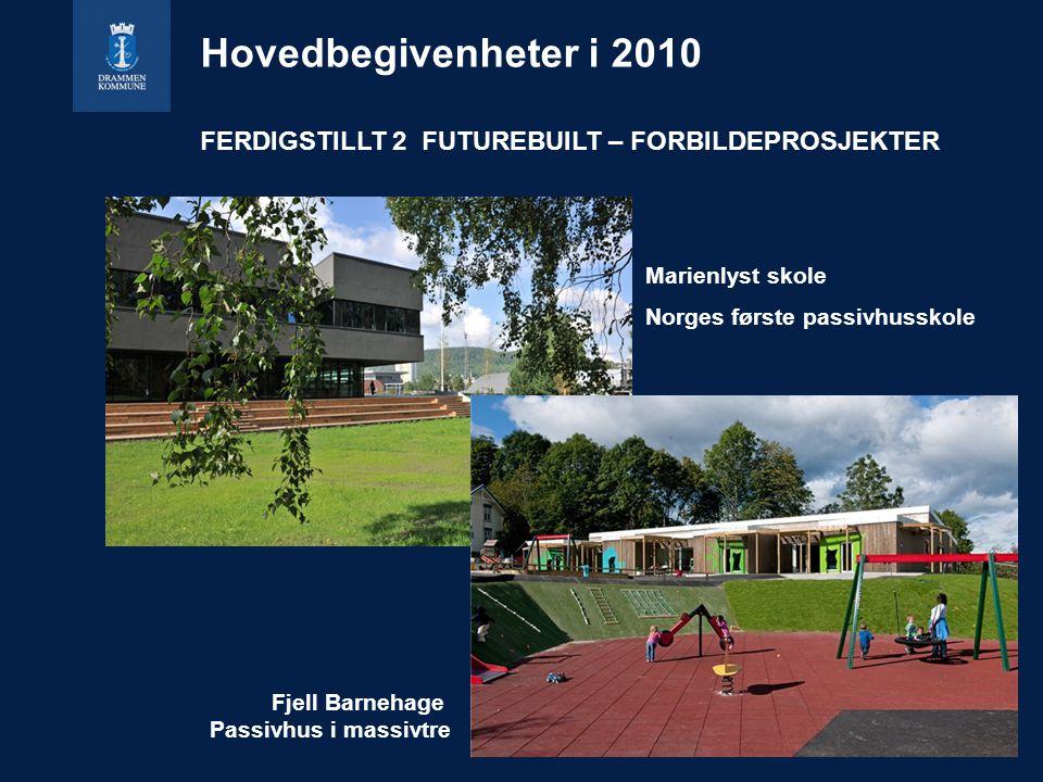 Marienlyst skole Norges første passivhusskole Fjell Barnehage Passivhus i massivtre Hovedbegivenheter i 2010 FERDIGSTILLT 2 FUTUREBUILT – FORBILDEPROSJEKTER