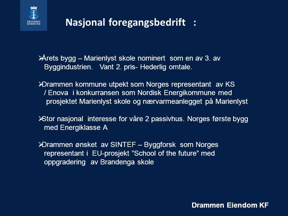 Nasjonal foregangsbedrift : Drammen Eiendom KF  Årets bygg – Marienlyst skole nominert som en av 3.