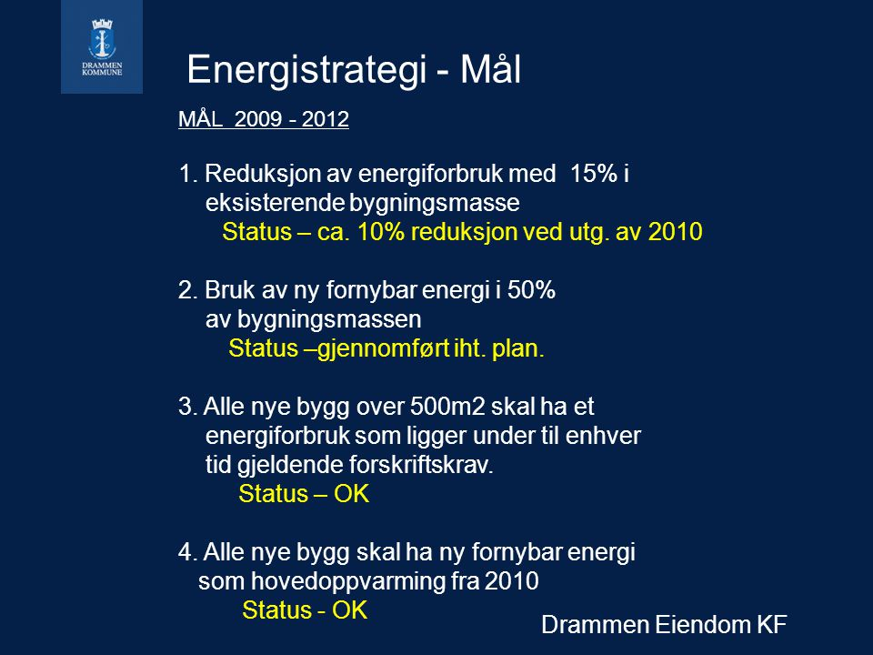 Drammen Eiendom KF Energistrategi - Mål MÅL 2009 - 2012 1.