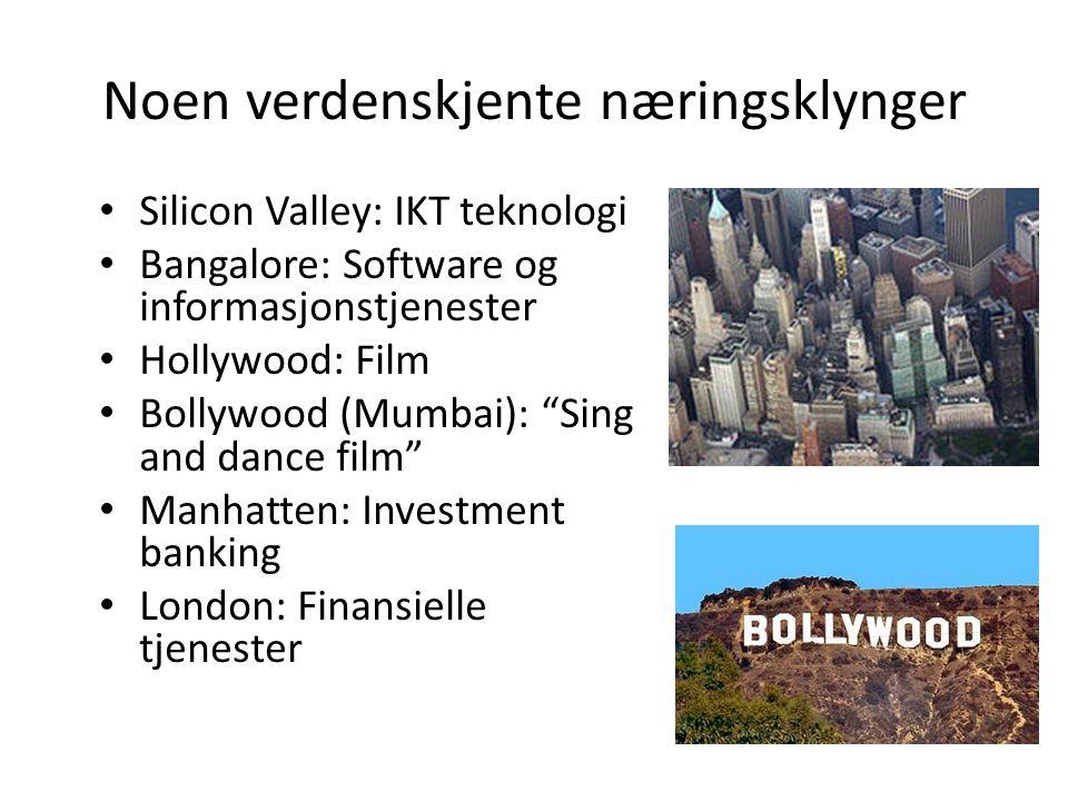 Noen verdenskjente næringsklynger Silicon Valley: IKT teknologi Bangalore: Software og informasjonstjenester Hollywood: Film Bollywood (Mumbai): Sing and dance film Manhatten: Investment banking London: Finansielle tjenester