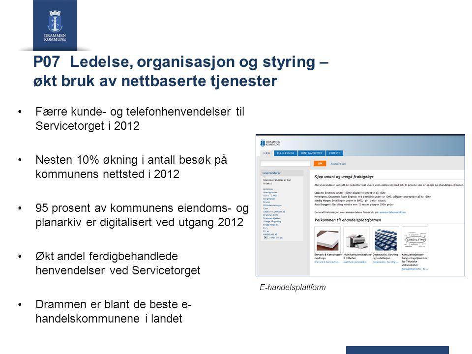 P07 Ledelse, organisasjon og styring – økt bruk av nettbaserte tjenester Færre kunde- og telefonhenvendelser til Servicetorget i 2012 Nesten 10% øknin