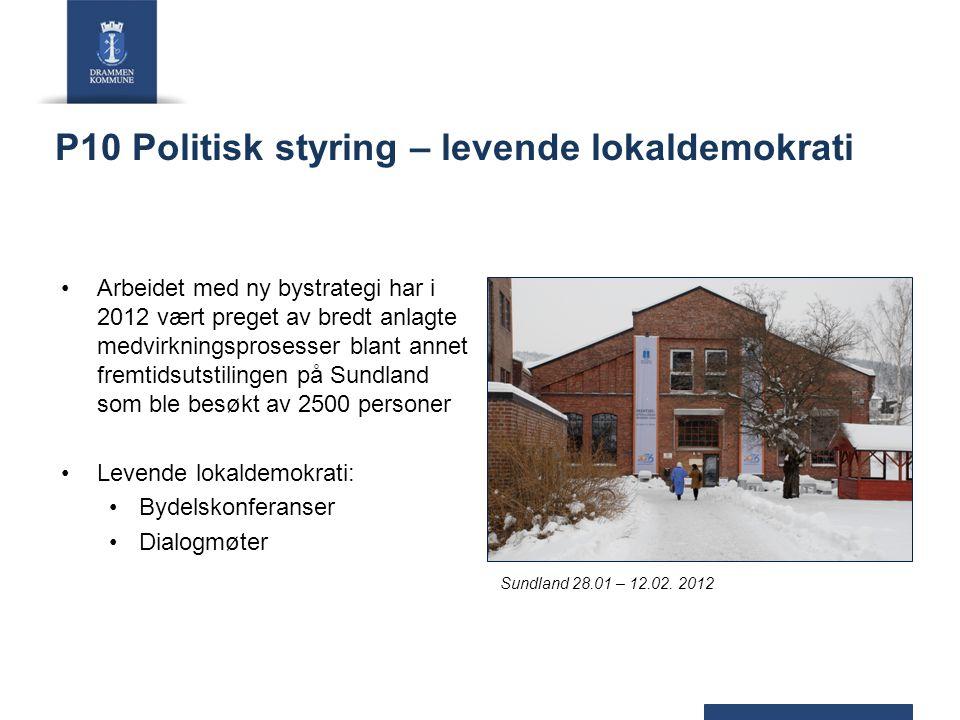 P10 Politisk styring – levende lokaldemokrati Arbeidet med ny bystrategi har i 2012 vært preget av bredt anlagte medvirkningsprosesser blant annet fre