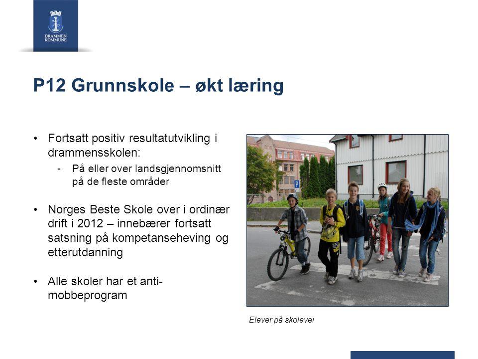 P12 Grunnskole – økt læring Fortsatt positiv resultatutvikling i drammensskolen: -På eller over landsgjennomsnitt på de fleste områder Norges Beste Sk
