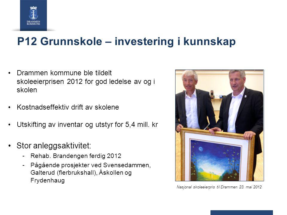 P12 Grunnskole – investering i kunnskap Drammen kommune ble tildelt skoleeierprisen 2012 for god ledelse av og i skolen Kostnadseffektiv drift av skol