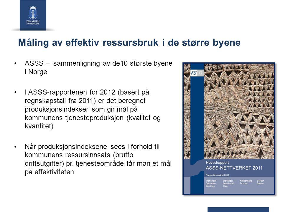 Måling av effektiv ressursbruk i de større byene ASSS – sammenligning av de10 største byene i Norge I ASSS-rapportenen for 2012 (basert på regnskapsta
