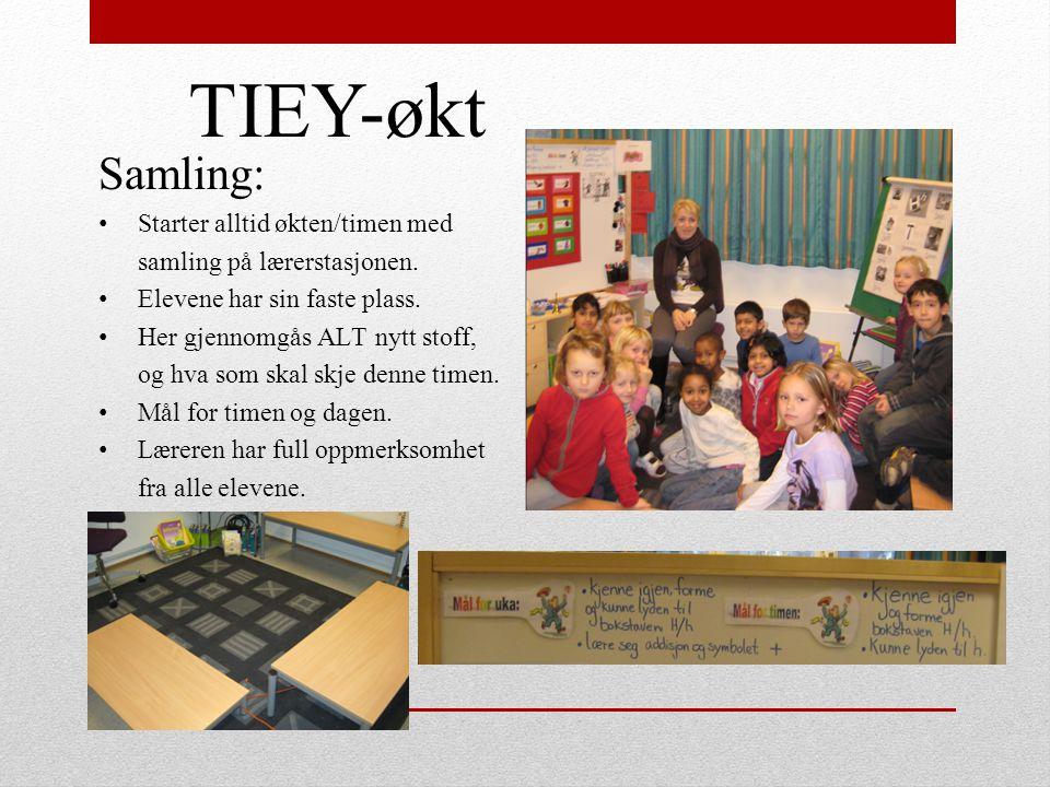 TIEY-økt Samling: Starter alltid økten/timen med samling på lærerstasjonen. Elevene har sin faste plass. Her gjennomgås ALT nytt stoff, og hva som ska