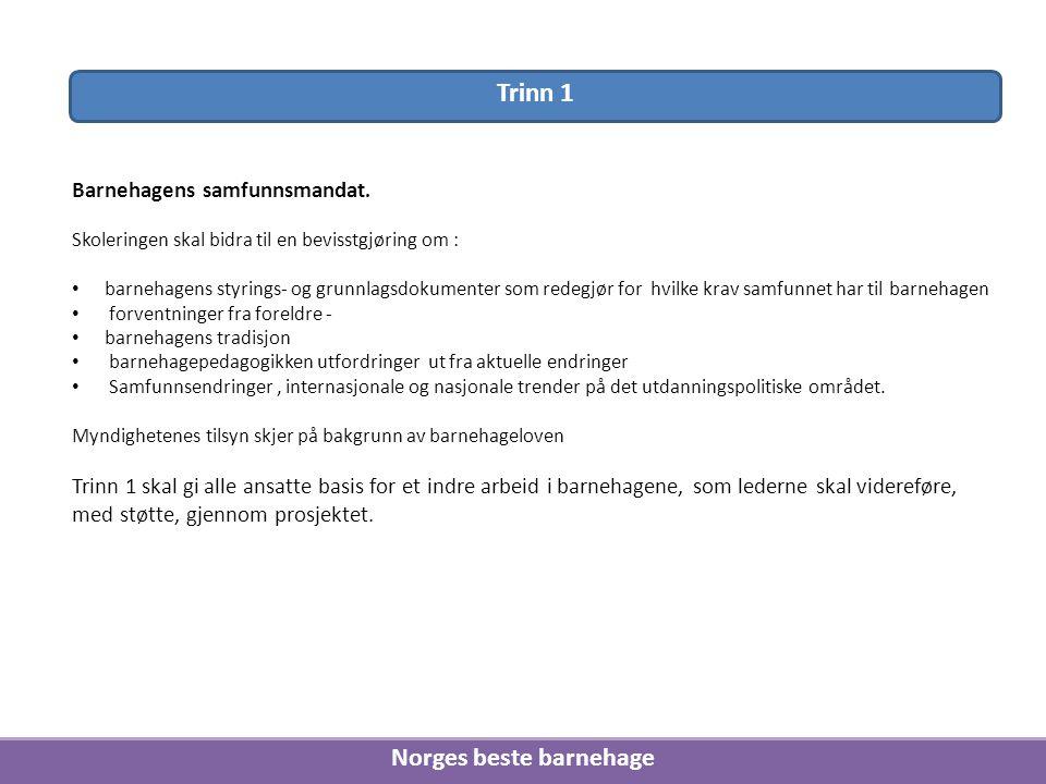 Norges beste barnehage Barnehagens samfunnsmandat. Skoleringen skal bidra til en bevisstgjøring om : barnehagens styrings- og grunnlagsdokumenter som