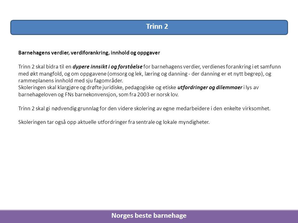 Norges beste barnehage Barnehagens verdier, verdiforankring, innhold og oppgaver Trinn 2 skal bidra til en dypere innsikt i og forståelse for barnehag