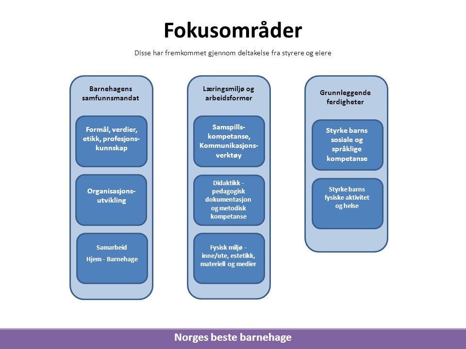 Norges beste barnehage Disse har fremkommet gjennom deltakelse fra styrere og eiere Fokusområder Barnehagens samfunnsmandat Læringsmiljø og arbeidsfor