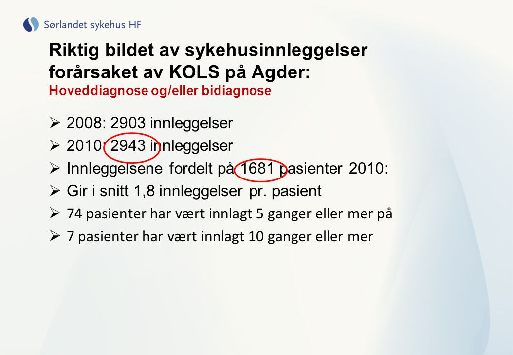 KOLS og sykehusinnleggelser generelt  Akutte KOLS forverring er blant de hyppigste årsakene til innleggelse ved norske sykehus ( blant voksne)  En av fire (25%) av KOLS pasienten som ankommer akuttmottak kan potensielt behandles hjemme