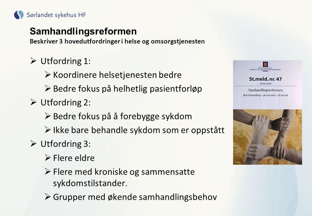 Prosjekter på KOLS og samhandling  Prosjekt Lokalmedisink senter i Knutepunkt sør, Agder (Kr.sand, Lillesand, Birkenes, Søgne, Iveland, Vennesla, Songdalen)  Samarbeide om å bygge opp kompetanse/ gi et godt kommunalt tilbud til for eksempel KOLS  Lovisenberg Diakonale Sykehus, Oslo  Samhandling om KOLS-pasienter etter utskrivelse fra sykehus  I dette prosjektet skal det undersøkes om det ved hjelp av en sykepleier som sørger for å koordinere samhandling mellom ulike instanser i primærhelsetjenesten og spesialisthelsetjenesten kan:  øke livskvalitet  redusere opplevelsen av symptomer  redusere antall sykehusinnleggelser hos personer som har KOLS  redusere helsekostnader  Prosjektstart dato: 01.03.2011 Prosjektslutt dato: 01.03.2017