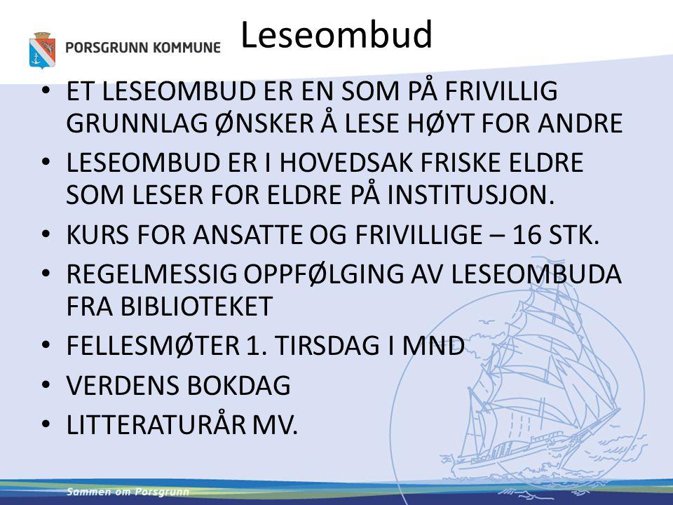 Leseombud I 40 % av norske kommuner er det kommunale biblioteket medlem i Leser søker boks biblioteknettverk.