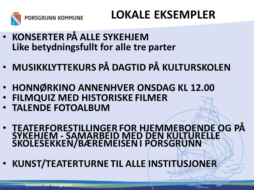 LOKALE EKSEMPLER 2 16 LESEOMBUD PÅ ALLE SYKEHJEM ORGANISERT AV BIBLIOTEKET BOKA KOMMER TIL HJEMMEBOENDE BØKER/LYDBØKER TIL ALLE HJEMMEBOENDE EN GANG I UKA MED BUDBIL – HJEMMETJENESTEN FORMIDLER BOKPRATEN HVER TORSDAG KL.