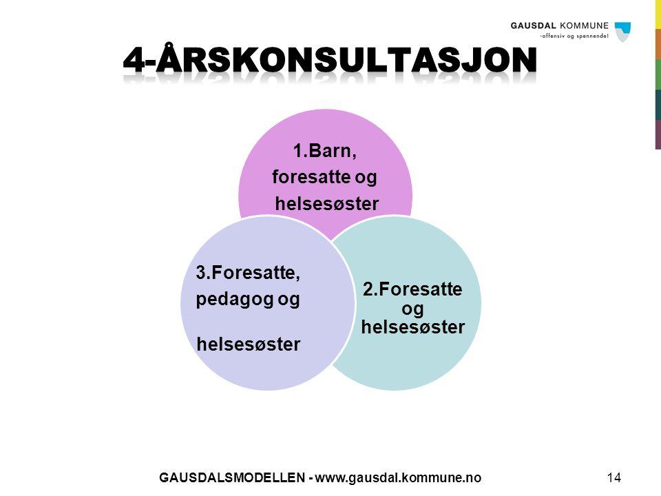 1.Barn, foresatte og helsesøster 2.Foresatte og helsesøster 3.Foresatte, pedagog og helsesøster 14GAUSDALSMODELLEN - www.gausdal.kommune.no