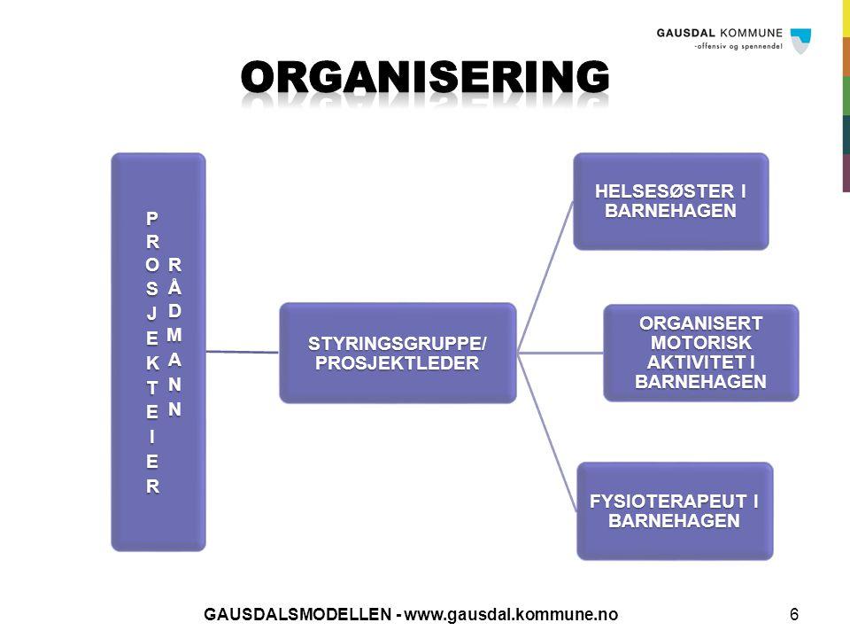 6 STYRINGSGRUPPE/PROSJEKTLEDER HELSESØSTER I BARNEHAGEN ORGANISERT MOTORISK AKTIVITET I BARNEHAGEN FYSIOTERAPEUT I BARNEHAGEN GAUSDALSMODELLEN - www.g