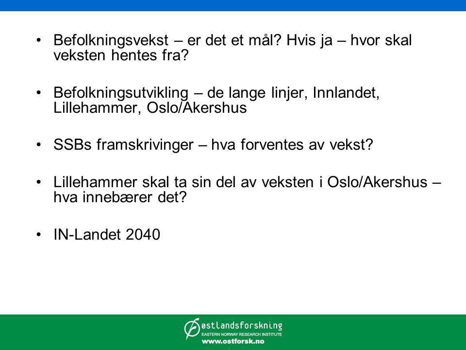 Befolkningsvekst – er det et mål? Hvis ja – hvor skal veksten hentes fra? Befolkningsutvikling – de lange linjer, Innlandet, Lillehammer, Oslo/Akershu