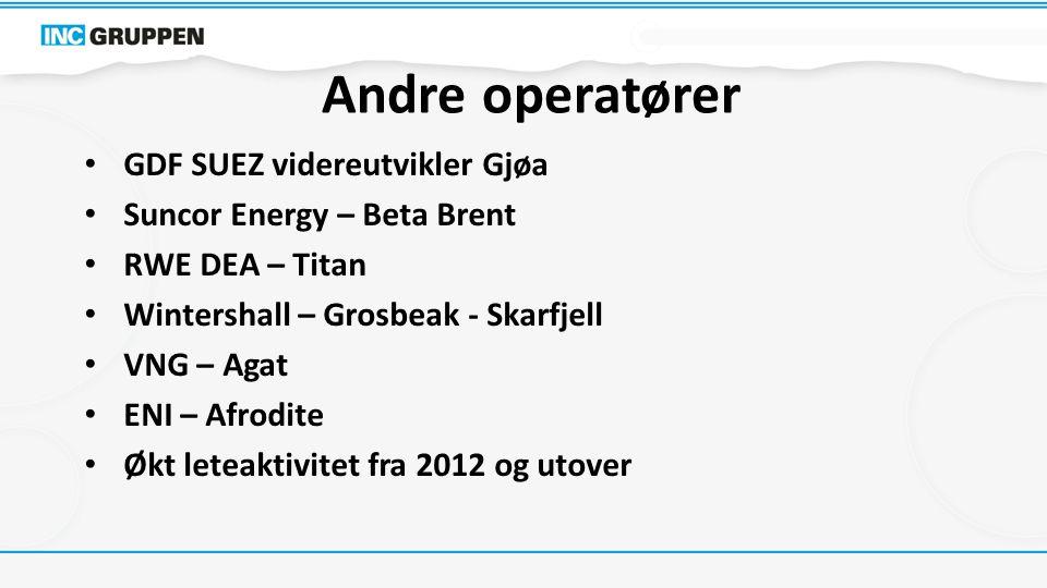 Andre operatører GDF SUEZ videreutvikler Gjøa Suncor Energy – Beta Brent RWE DEA – Titan Wintershall – Grosbeak - Skarfjell VNG – Agat ENI – Afrodite