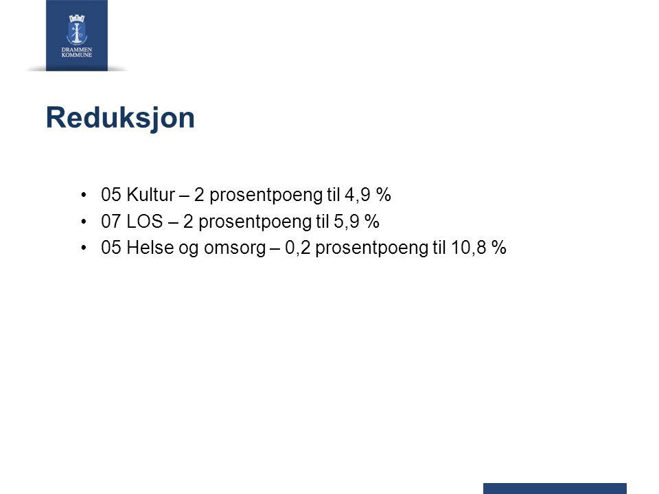 Reduksjon 05 Kultur – 2 prosentpoeng til 4,9 % 07 LOS – 2 prosentpoeng til 5,9 % 05 Helse og omsorg – 0,2 prosentpoeng til 10,8 %