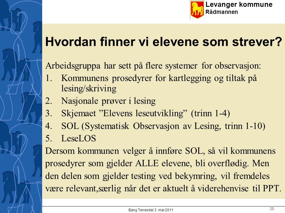Levanger kommune Rådmannen Hvordan finner vi elevene som strever? Arbeidsgruppa har sett på flere systemer for observasjon: 1.Kommunens prosedyrer for