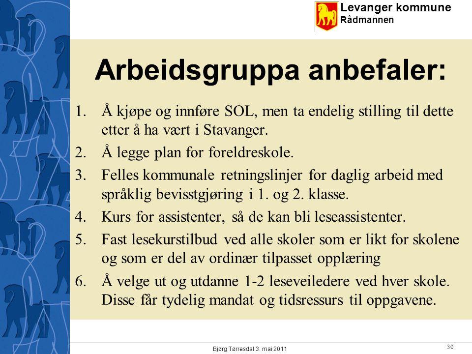 Levanger kommune Rådmannen Arbeidsgruppa anbefaler: 1.Å kjøpe og innføre SOL, men ta endelig stilling til dette etter å ha vært i Stavanger. 2.Å legge