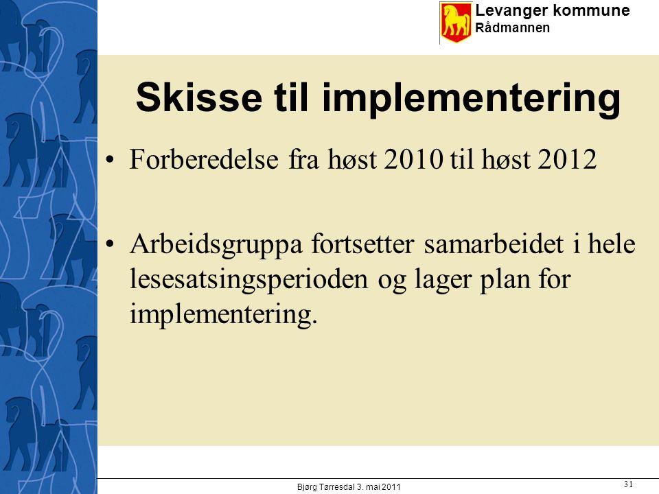 Levanger kommune Rådmannen Skisse til implementering Forberedelse fra høst 2010 til høst 2012 Arbeidsgruppa fortsetter samarbeidet i hele lesesatsingsperioden og lager plan for implementering.