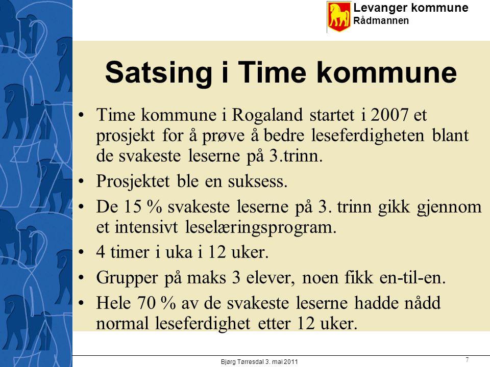 Levanger kommune Rådmannen Satsing i Time kommune Time kommune i Rogaland startet i 2007 et prosjekt for å prøve å bedre leseferdigheten blant de svakeste leserne på 3.trinn.