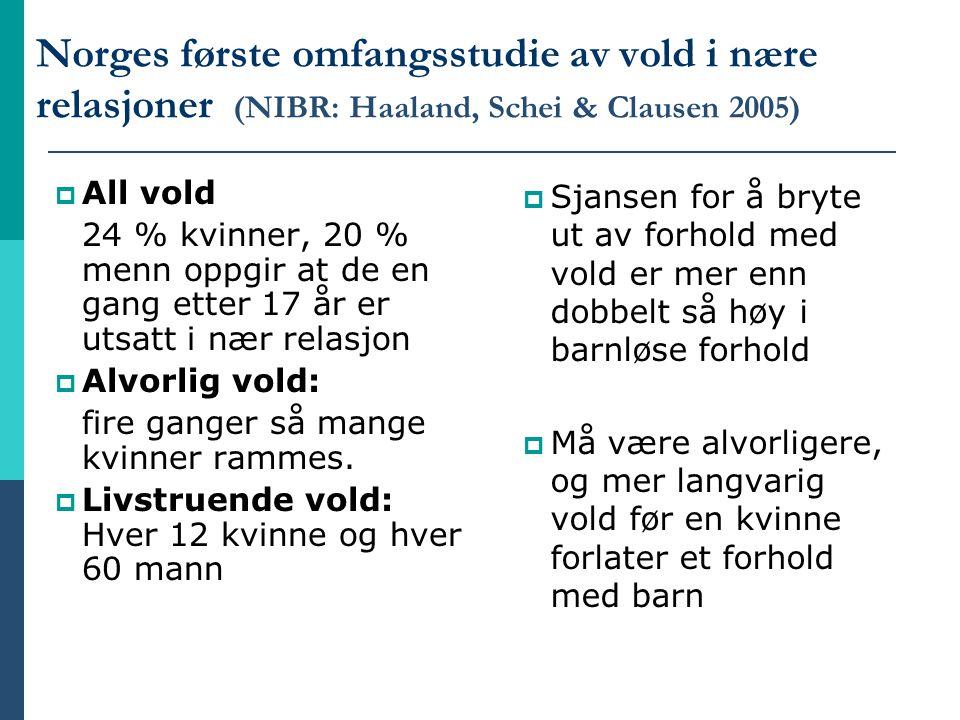 Norges første omfangsstudie av vold i nære relasjoner (NIBR: Haaland, Schei & Clausen 2005)  All vold 24 % kvinner, 20 % menn oppgir at de en gang et
