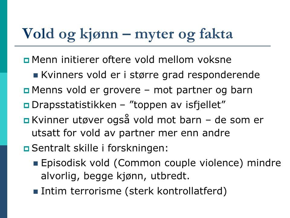 Vold og kjønn – myter og fakta  Menn initierer oftere vold mellom voksne Kvinners vold er i større grad responderende  Menns vold er grovere – mot p