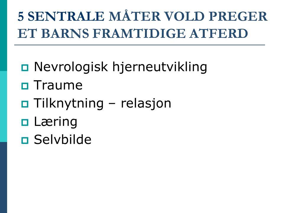 5 SENTRALE MÅTER VOLD PREGER ET BARNS FRAMTIDIGE ATFERD  Nevrologisk hjerneutvikling  Traume  Tilknytning – relasjon  Læring  Selvbilde