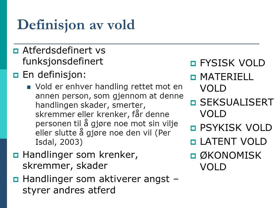 Definisjon av vold  Atferdsdefinert vs funksjonsdefinert  En definisjon: Vold er enhver handling rettet mot en annen person, som gjennom at denne ha