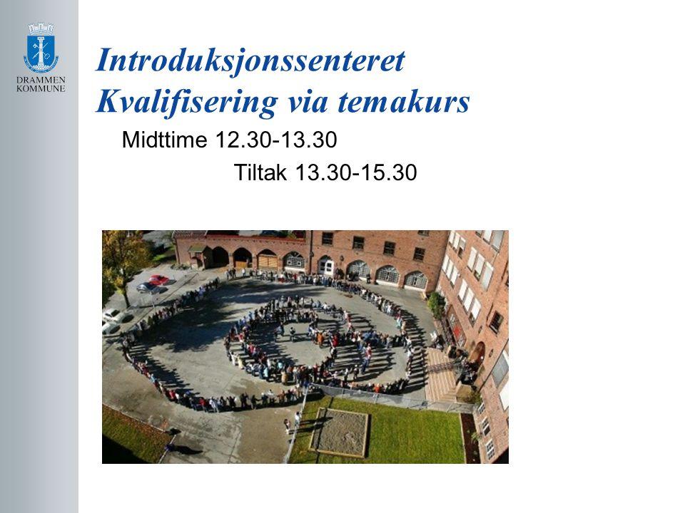 Introduksjonssenteret Kvalifisering via temakurs Midttime 12.30-13.30 Tiltak 13.30-15.30