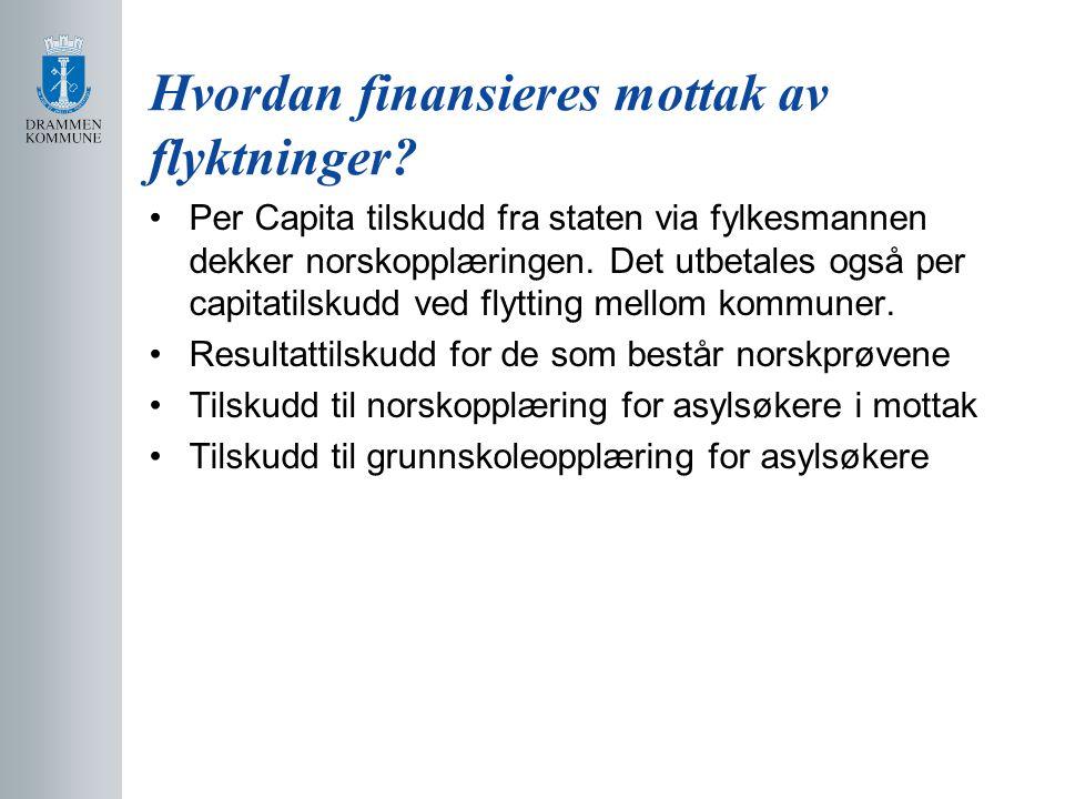 Hvordan finansieres mottak av flyktninger? Per Capita tilskudd fra staten via fylkesmannen dekker norskopplæringen. Det utbetales også per capitatilsk
