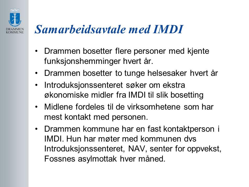 Samarbeidsavtale med IMDI Drammen bosetter flere personer med kjente funksjonshemminger hvert år. Drammen bosetter to tunge helsesaker hvert år Introd